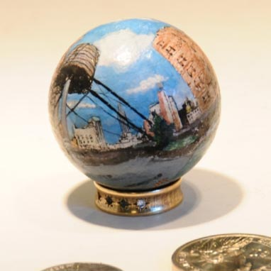 Spherical painting of New York City rooftop