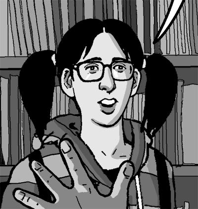 Mandy as nerd girl