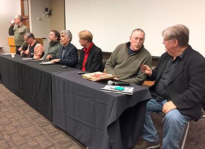 Panel discussion with moderator Richard Gehr, me, Patrick Rosenkranz, Norman Solomon, Bill Plympton, Maurice Isserman, and Matt Groening.