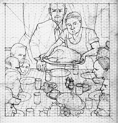 Pencil preliminary sketch