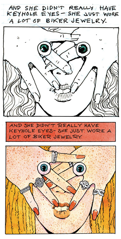 Panels from the 24 Hour Comic  and Dark Horse Presents versions of THE GIRL WITH THE KEYHOLE EYES