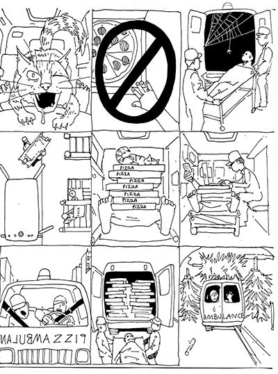 Roughs for American Bystander illustration